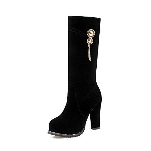 AgooLar Women's Round Closed Toe High-Heels Dull Polish High-top Solid Boots Black