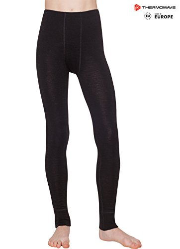 Thermowave - Merino Warm/Junior Unisex Merino Wool Pants/Black - from 5' 2