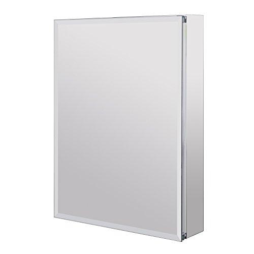 Utopia Alley Aluminum Medicine Cabinet with Glass Shelves, Single Door, 24