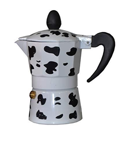 Ducomi Cafetera expreso de aluminio efecto vaca – Moka Express con mango térmico para un café italiano cremoso y…