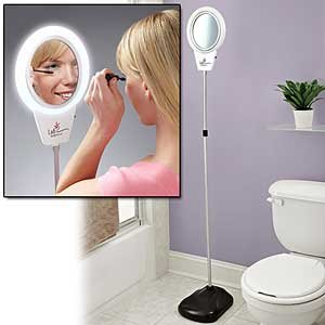Exceptional 5X Lighted Magnifying Mirror (Floor Standing Adjustable From 49u0026quot ...