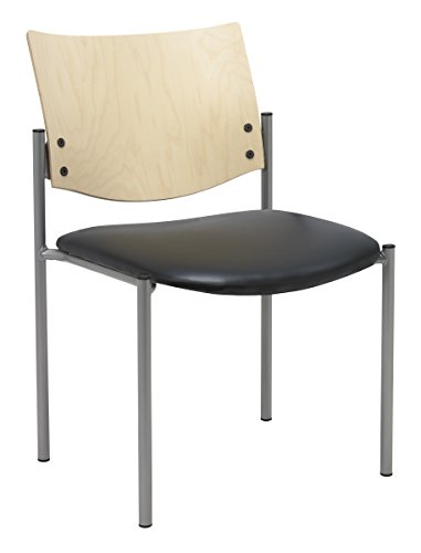 Natural Wood Series Natural - KFI Seating Evolve Series Guest Chair, Armless with Wood Back, Black anit-bacterial vinyl, Natural Back