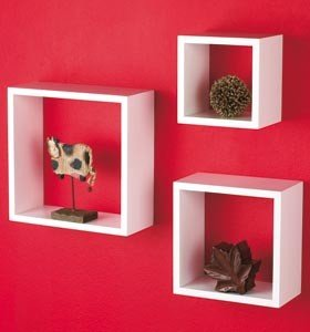 ultra modern wall cube shelves set of 3 white amazon co uk rh amazon co uk White Wall Book Shelves white floating wall shelves uk