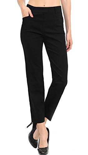 VIV Collection New Women's Straight Fit Trouser Ankle Pants (Small, Black) (Pants Travel Black)