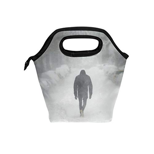 - Man In Blizzard Lunch Bag Reusable Tote Bag Insulated Lunch Box For Boys, Girls, Kids, Adults, Office, School