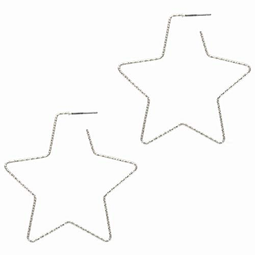 And Lovely 14K Gold Dipped Star Earrings - Hypoallergenic Lightweight Fun Statement Drop Dangle Earrings (Diamond Cut Silver Star Hoop)
