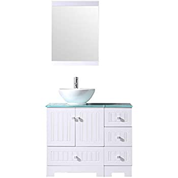 "BATHJOY 36"" White Bathroom Vanity Cabinet Ceramic Vessel"