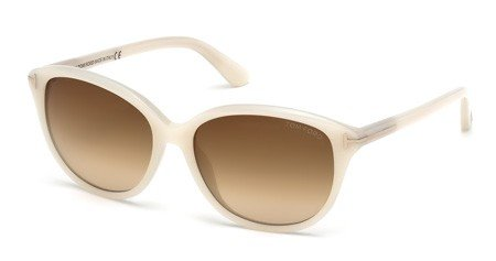 Tom Ford Sunglasses - Karmen / Frame: Opalescent White Lens: Brown - White Sunglasses Tom Ford
