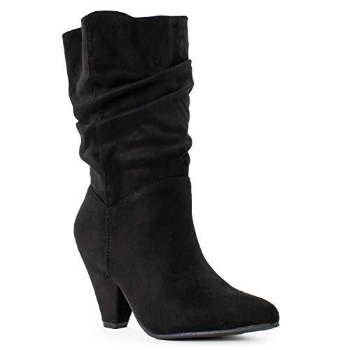Heel High Cone - RF ROOM OF FASHION Women's Western Pointy Toe Chunky Cone Heel Slouch Ankle Boots Black (11)