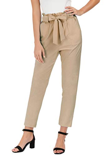 (GRACE KARIN Women's Slim Straight Leg Stretch Casual Pants with Pockets S Camel)