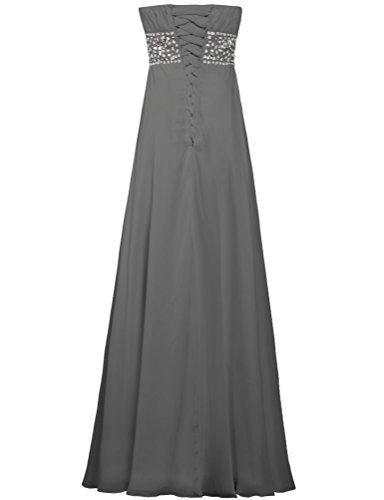 Fourmis Robe En Mousseline De Soie Sans Bretelles De Femmes De Soirée Robes De Bal Gris Longues