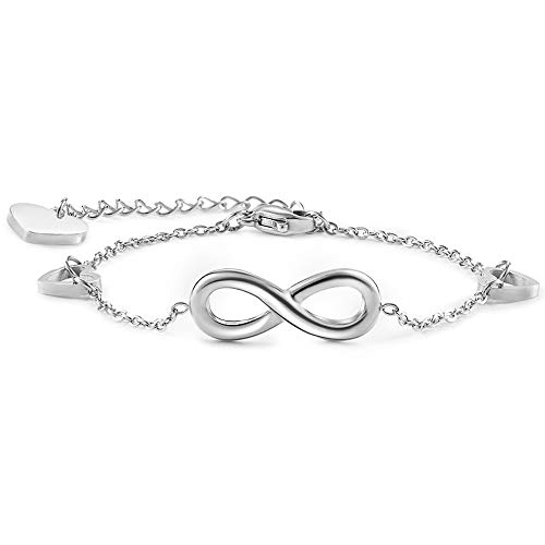 - Seyaa Infinity Bracelet for Women Girls Silver Stainless Steel Charm Link Adjustable Chain Jewelry Gifts for Mother Friends Lover