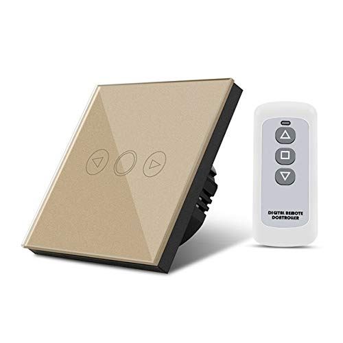 gold 220V EU Standard Wall Dimmable Switch Touch Sensor with RF Remote Controller Surface Waterproof Crystal Glass Panel Smart Switch  (color  White)