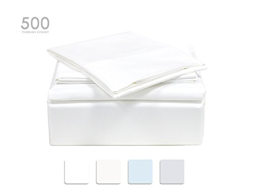 TRANQUIL NIGHTS 500 Thread Count Cotton Sheet Set- White Queen, 4-Piece Set, Long Staple Combed Cotton, Sateen Weave, Classic Z Hem, Ultra Soft&Shine, Fits Mattress Upto 17