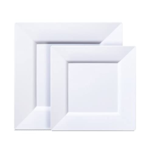 \ Select Settings\  [40 COUNT] White Square Plastic Disposable Plates - Includes 20 (10.25 inch) Dinner Plates and 20 (8 inch) Salad Plates  sc 1 st  Amazon.com & Plates Square: Amazon.com