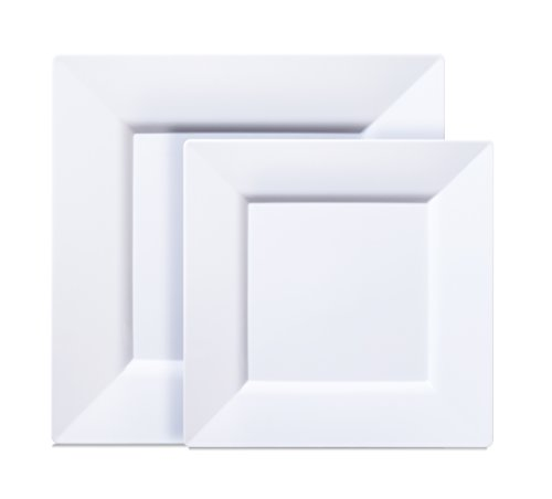 [40 COUNT] White Square Plastic Plates - Includes 20 Dinner Plates and 20 Salad Plates