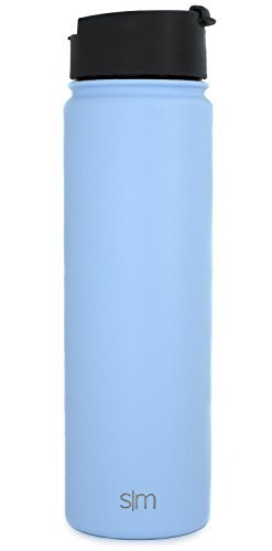 Simple Modern 22 oz Summit Water Bottle - Stainless Steel Hydro Metal Flask +2 Lids - Wide Mouth Double Wall Vacuum Insulated Blue Large 2 Liter Half Gallon Leakproof Thermos -Robins Egg