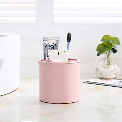 (YISASA Storage Box Desktop Smiley Face Plastic Pen Barrel 11X9X10.5 Pink)