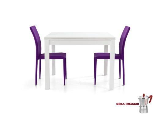 TABLES& CHAIRS tavolo da pranzo bianco legno frassino quadrato allungabile 559 90x90x76