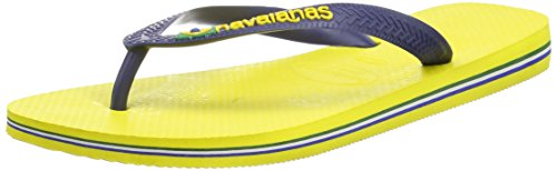 Mens Havianas Brasil Logo Rubber Sandals Brazil Casual Beach Flip Flops Yellow Citrus 3o4Sp26OY