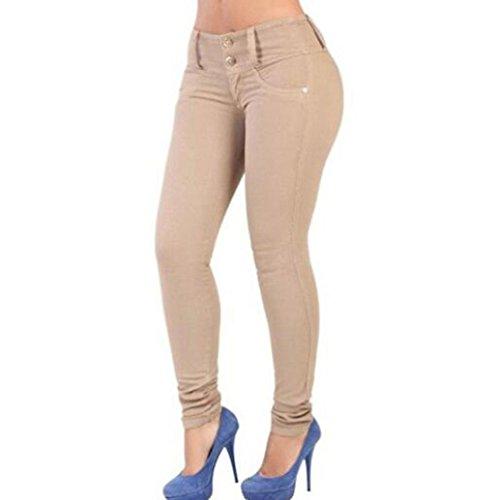 Collants Kaki Skinny Up Pantalon Femmes Skinny Slim Leggings Stretch Push Jeans Jeans Taille Haute Pantalons Demin Femmes Crayon qxOTU4wB