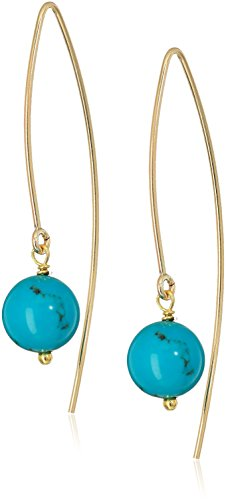 Turquoise Marquis (Gold Filled Marquis with Turquoise Beads Dangle Earrings)
