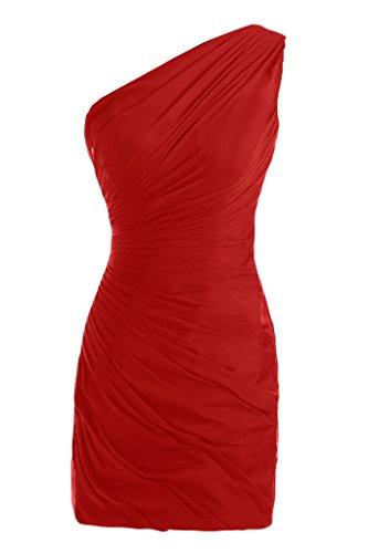 One-Shoulder Toscana novia fácil por la noche vestidos de gasa vestido corto fiesta De antiguos alumnos Rojo