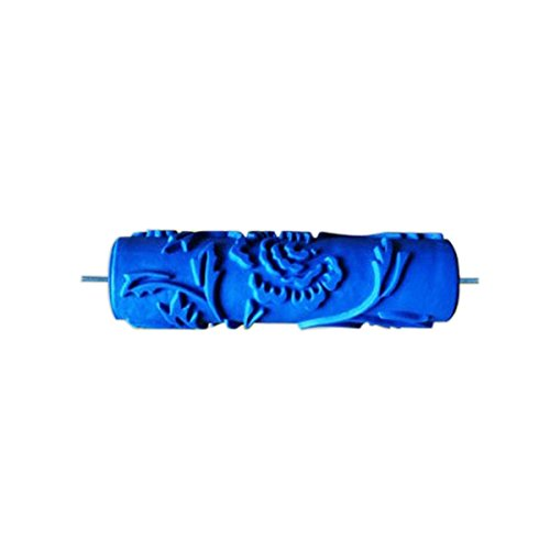 MagiDeal 7inch Embossed Peony Flower Pattern Paint Roller New Decorative Painting Roller Brush DIY Tools Blue - Flower Patterns Paint