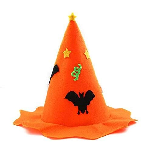 Xiao-mask Pumpkin Witch Hat Wizard Hats Kids Adults Halloween Cosplay Performance Props Masquerade Party Hats (Color : Orange)]()