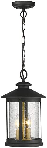 Zeyu Exterior Pendant Light Lantern, 2-Light Outdoor Hanging Light Fixture for Porch, Black Finish with Seeded Glass, 20070H2
