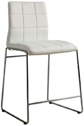 Furniture of America Scout Leatherette Counter Height Dining Chair, White, Set of (Upholstered Sleigh Back Chairs)