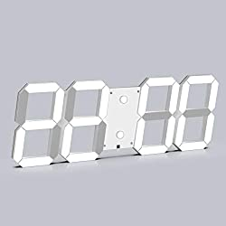CHKOSDA 3D Digital Wall Clock, 6 LED Numbers Countdown Clock, Remote Control, Ultra-Thin Design, Large Calendar, Auto Dimmer/ 8-Level Adjustable Brightness Office Clock(White Shell, White)