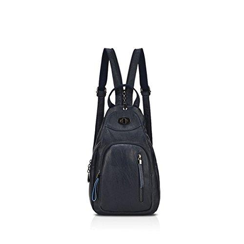NICOLE&DORIS mochila de las niñas de la marca de moda nueva mochila MINI Pequeño estilo fresco, práctico y conveniente Rose Red Lavado Azul Oscuro A