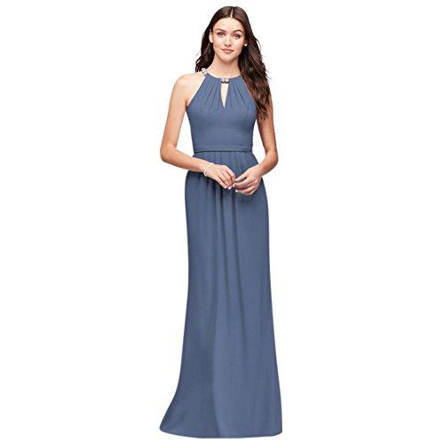 Robe De Demoiselle D'honneur Licol Crêpe Style Décolleté Perles F19672 Bleu Acier