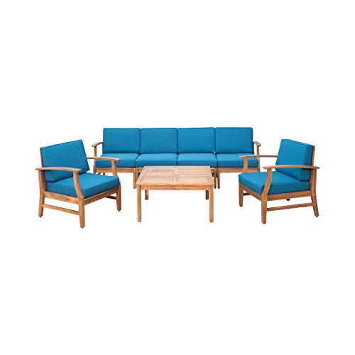 Lorelei Outdoor 6 Seater Teak Finished Acacia Wood Sofa and Club Chair Set with Blue Water Resistant ()