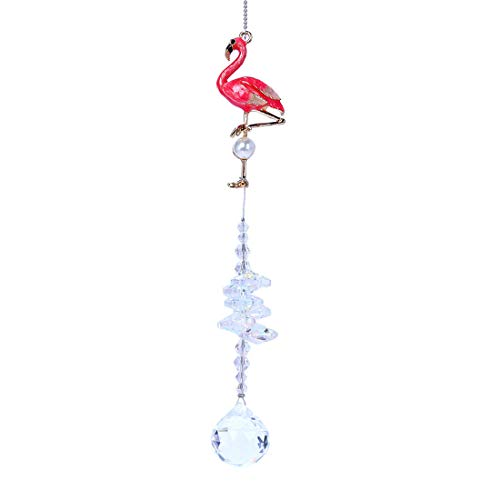 - Crystalsuncatcher Glass Crystal Ball Prism Rainbow Maker Flamingo Hanging Window Sun Catcher for Gift (Style-2)