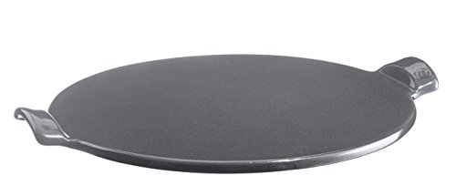(Emile Henry Made in France Flame Top Pizza Stone, Granite. Perfect for Pizzas or Breads. In the Oven, On Top of the BBQ. Safe up to 750 degrees F. 100% Natural Clay, Glazed Surface. Easy to Clean.)