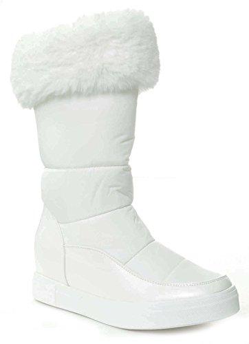 Fourever Funky White Moon Boots Fur Vegan Women's Mid-Calf Winter 8 (Snow Boots Winter Moon)