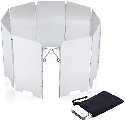 OUNONA 9Teller Wind Schild Windschutzscheibe zusammenklappbar für Gaskocher Camping BBQ Windschutz für Campingkocher