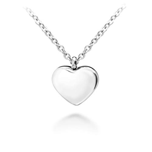 (555Jewelry Womens Stainless Steel Love Cute Heart Shape Small Dainty Delicate Cable Chain Charm Shiny Gift Vintage Fashion Girls Jewelry Accessory Hanging Pendant Necklace, Silver 18 Inch)