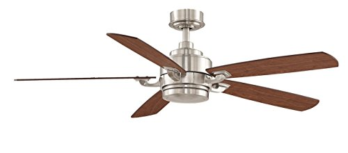 Fanimation Benito - 52 inch - Brushed Nickel with Reversible Cherry/Walnut Blades with Light Kit and Remote - FP8003BN-220 ()