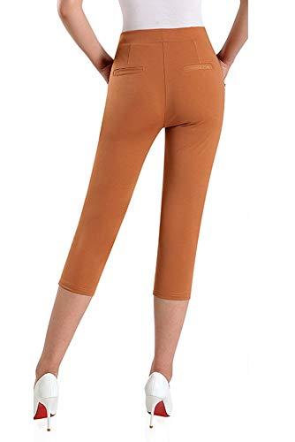 YIHIGH Cropped Alta Arancione Elasticizzato Vita Pantaloni Donna Casual Pantaloni rPwzZqr