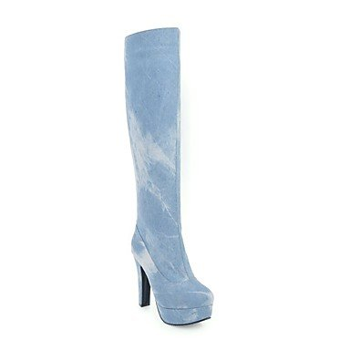 Light Chunky Shoes CN43 RTRY For High Boots Dress Dark Denim Women'S Blue Thigh US10 Casual Round 5 Boots Winter Heel 5 UK8 Toe EU42 Blue Boots Fashion TT0Fwq