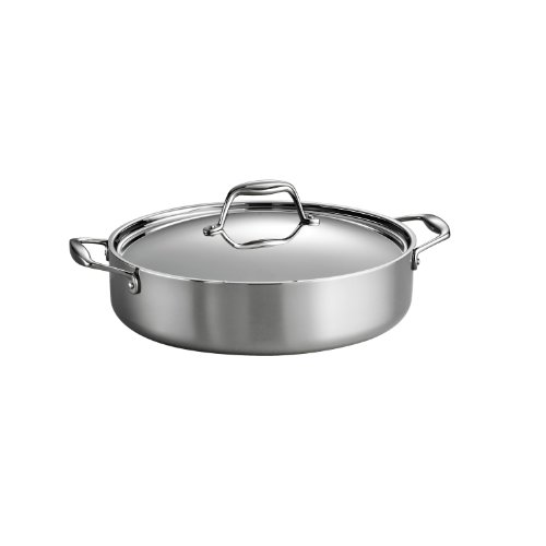 Tramontina 80116/015DS Gourmet Stainless Steel Induction-Ready Tri-Ply Clad Covered Braiser, 5-Quart, NSF-Certified, Made in Brazil