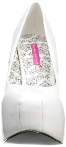 Pleaser Womens Tee06w Platform Pump Brevetto Bianco