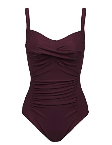 (Joyaria Womens Twist Front Ruched One Piece Swimsuit Tummy Control Slimming Bathing Suit Retro Vintage Swimwear)