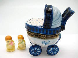 Essence of Europe Gifts E.H.G Jewelry Boxes Blue and White Baby - Buggy Baby Ceramic