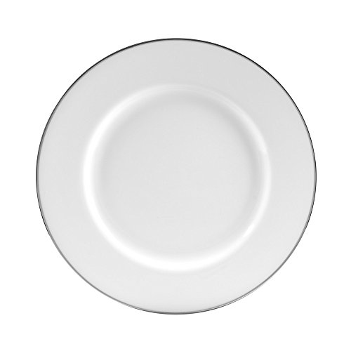 """10 Strawberry Street Silver Line 10.756"""" Dinner Plate, Set of 6, White/Silver"""
