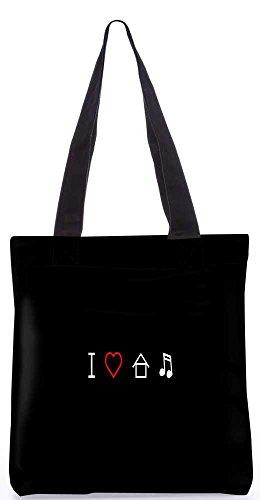 """Snoogg Ich Liebe House-Musik-Einkaufstasche 13,5 X 15 In """"Einkaufstasche Dienstprogramm Trage Aus Polyester Leinwand"""