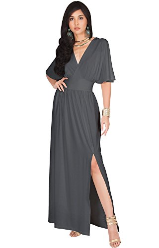 KOH KOH Womens Long Sexy Kimono Short Sleeve Slit Split V-Neck Party Cocktail Evening Bridesmaid Wedding Guest Sun Gown Gowns Maxi Dress Dresses for Women, Pewter Gray Grey M 8-10